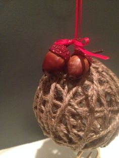 Acorn and Jute Twine Christmas Ornament by KristysHdMdKreations