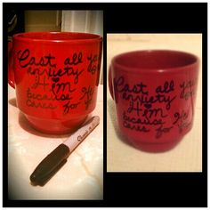 Just turned my plain jane coffee mugs into scripture mugs!  Write a favorite scripture, quote, or design with a permanent marker.  Then put in oven on 350° for 30 minutes. Voila!