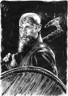 drumondart:  Ragnar LothbrokKing Ragnar, the Boss!Indian ink and white acrylic on paper