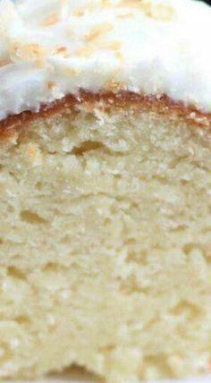 "Coconut Bundt Cake — ""incredibly moist, dense like pound cake, unbelievably go… - Dessert-recipes. Coconut Desserts, Brownie Desserts, Coconut Recipes, Just Desserts, Baking Recipes, Delicious Desserts, Dessert Recipes, Coconut Cakes, Lemon Cakes"