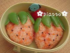 Erdbeere Strawberry onigiri beans sesame seasamsaat obst fruits Kaiserschoten Zuckererbsen Beilage reis rice reisbällchen