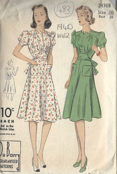 1940 WW2 Vintage Sewing Pattern B38 DRESS (1483)  Du Barry  2476B