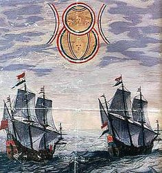 "From the works of Admiral Blaeu, in ""Theatrum Orbis Terrarum"", the first true modern atlas, written by Abraham Ortelius and originally printed on May 20, 1570. This painting documents an encounter that happened when, while at sea, Dutch ships sighted two disk shaped objects hovering in the sky."
