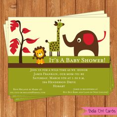 Retro Jungle Animals Baby Shower by BellaChiCards on Etsy, $14.00 these are cute!