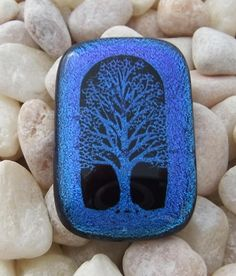 Cremation Pendant for your Loved One or Pet Tree of Life Ash Necklace.  Your pet or loved one's ashes will be shaped into a heart and seen from the back of your pendant.  Choose from a variety of colors by addicted2glassfusion.artfire.com