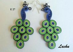 paper quilled peacock earrings