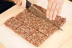 Making these today! Energy bars make for great snacks and fuel for workouts, but the pricey commercial versions often contain ingredients you dont need. These homemade energy bars are a healthier version you can make in about half an hour. Kitchen Recipes, Snack Recipes, Cooking Recipes, Bar Recipes, Diet Recipes, Cooks Illustrated Recipes, Fruit And Nut Bars, Energy Bars, Raw Energy