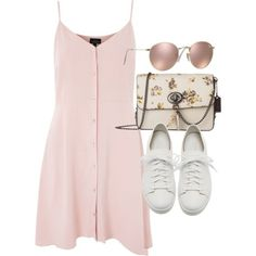 A fashion look from June 2017 featuring Topshop dresses, Santoni sneakers and Coach shoulder bags. Browse and shop related looks. Fashion 2017, Look Fashion, Teen Fashion, Korean Fashion, Fashion Outfits, Dress Fashion, Womens Fashion, Fashion Clothes, Preppy Fashion