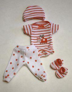 "Sculpted OOAK Baby Doll Clothes Bodysuit Pants Cap Tiny Mini Reborn 7"""