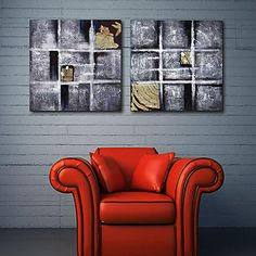 Stretched Canvas Print Art Abstract Annual Ring Set of 2 – USD $ 69.99