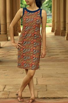 HandsOfIndia - Quality Handwoven, handcrafted and hand-embroidered apparels and furnishings Simple Dresses, Casual Dresses, Short Dresses, Fashion Dresses, Summer Dresses, Kurti Neck Designs, Blouse Designs, Short Kurti Designs, Western Dresses