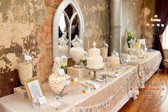 golden vintage candy dessert buffet   #wedding