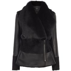 BLACK SHEARLING JACKET (15.315 NOK) ❤ liked on Polyvore featuring outerwear, jackets, waterfall jacket, collar jacket, shiny jacket, short-sleeve jackets and shearling jacket