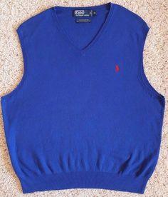 POLO Ralph LAUREN Sweater VEST Mens XL Blue PIMA Cotton PONY Logo SIZE Man SZ*** #PoloRalphLauren #Vest