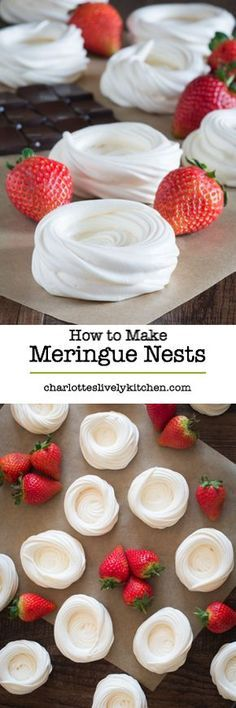 Cajun Delicacies Is A Lot More Than Just Yet Another Food A Step-By-Step Guide To Making Homemade Meringue Nests, Perfect For Making Beautiful Mini Pavlovas. Mini Pavlova, Meringue Pavlova, Meringue Desserts, Just Desserts, Delicious Desserts, Dessert Recipes, Yummy Food, Pavlova Recipe, Meringue Food