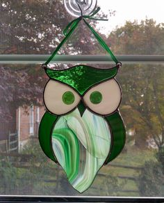 Stained Glass Owl Suncatcher - Bird Ornament - Window Decor - Green Owl - Nature Decor - Housewarming Gift - Green Glass by StainedGlassYourWay on Etsy