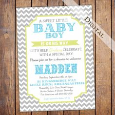 Chevron Boys Baby Shower Invitation with grey blue and green, digital, printable (item137a)