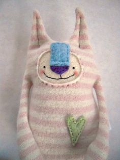 Cashmere Stuffed Animal Cat Upcycled Striped by sweetpoppycat