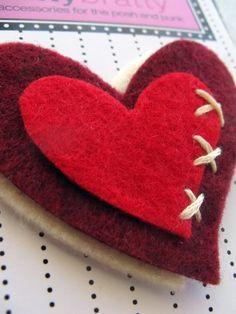 Cute handmade felt heart hair clip from Natty Bratty