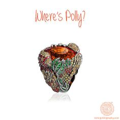 Where's Polly? #LydiaCourteille, #18K, #Gold, #Parrot, #Ring, #Sapphires, #Garnets, #Jewelry, #Jewellery