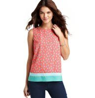Parrot Print Colorblock Hem Shell - We love the tropical charm of this parrot print shell that flaunts a contrast colorblocked hem, for structured allure. Boatneck. Sleeveless. Keyhole detail at back neck with tonal ties.