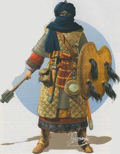 Guerrier Berbère élite Almohade armure matelassé et cote de maille (1147 – 1269)