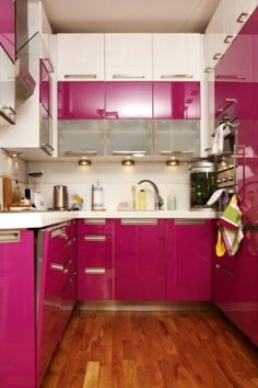 Design For A Kitchen With Less E The Purple Magic Pink Cabinets