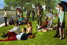 "The cast of The Office recreates Georges Seurat's ""A Sunday Afternoon on the Island of La Grande Jatte""."