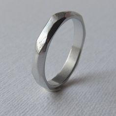 Men's slim faceted wedding band aluminum wedding ring mens engagment ring mens unusual band