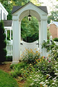 Garden - picket fence and covered garden entry - charming | Solow Design Group