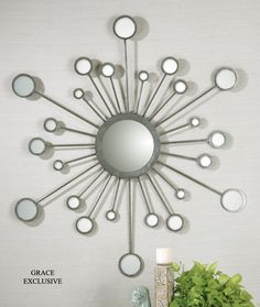 Uttermost Raindrops Silver Sunburst Mirror