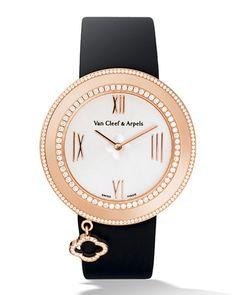 Pink Gold Charms Watch with Diamonds, 38mm, Women's - Van Cleef & Arpels
