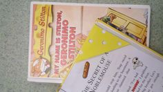 Bookmarks I made for kids who check out Geronimo Stilton books