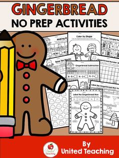 The Gingerbread No Prep Activities packet is full of FUN and engaging worksheets that will keep your children learning and revising their kindergarten outcomes while immersing them in a Gingerbread theme.
