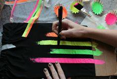 summery striped neon shirt . how to-sday - Shrimp Salad Circus