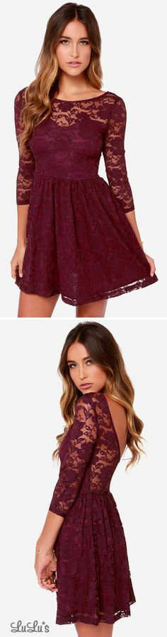 THIS WOULD LOOK REALLY PRETTY ON YOU.                             LULUS Exclusive Our Song Burgundy Lace Dress