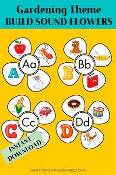 Garden Theme Activity Bundle - Teaching Thinking Minds Emergent Literacy, Literacy Worksheets, Homeschool Kindergarten, Homeschooling, Teacher Resources, Teaching Ideas, Critical Thinking Skills, Gross Motor Skills, Garden Theme
