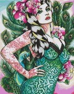 zombies cross stitch patterns free | Modern cross stitch kit by Carissa Rose 'Peacock Pin Up' Modern art ...