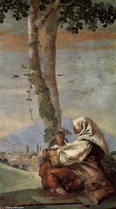 Landscape with sitting farmer - (Giovanni Domenico Tiepolo)