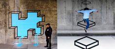 Nihalani's Urban Illusions- leak in wall and mario bros cube jump by Aakash Nihalani