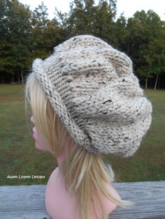 79aa7ee0374 Oatmeal Rolled brim hat. Extra chunky winter hat. Women s slouch hat. Tan