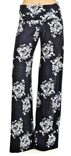 Floral black and white palazzo yoga pants..SZ SM by Foreverpeace, $29.99
