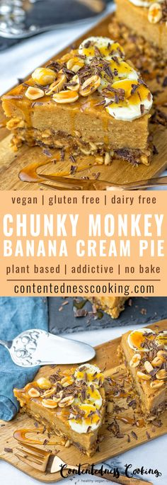 Chunky Monkey Banana Cream Pie: so addictive, beautiful and delicious, gluten free, features a no bake dough made from peanuts, dates, coconut nectar and vegan chocolate. This dairy free sensation is rich and creamy and finally topped with lots of fresh banana slices.