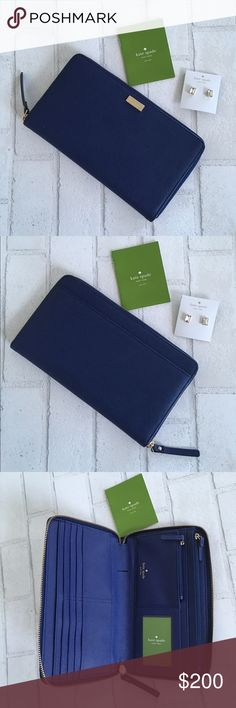 """5⭐️ Kate Spade Navy Blue Large Travel Wallet Brand New! Kate Spade Travel Wallet in Navy Blue! Material Crosshatch Leather with matching trim. 14k Gold Plated Hardware. Description: Zip Around Wallet, 11 Credit Card Slots. Interior zip change pocket. ID window and Pen Holder. slide pocket for boarding passes and passport. Size: 4.4"""" H x 7.8"""" W x 1"""" D. Price is Firm. Bundle and Save 10% Off 2 items 15% Off 3+ items kate spade Bags Wallets"""