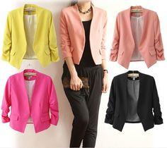 Women Candy Plus Size Blazers Luxury Business Suits Fashion Ladies Girls Long Sleeve V Neck Short Suit Jacket Coat Outwear Women Clothes From Love_fashionshop, $15.49 | Dhgate.Com