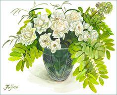 白バラとゴールデンアカシア
