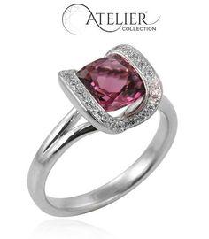 A Michael Jones Jeweller Atelier Collection Pink Tourmaline and Diamond Pavilion Ring.