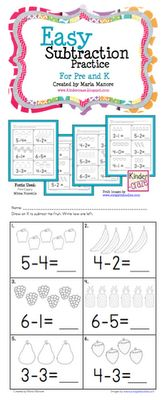 1 page FREEBIE: Easy subtraction pages with great picture support. Students draw an X on pictures to subtract then record the difference. An easy intro to the difficult concept of subtraction. Subtraction Kindergarten, Teaching Kindergarten, Student Teaching, Fun Classroom Activities, Math Classroom, Future Classroom, Classroom Ideas, Math Resources, Subtraction Worksheets