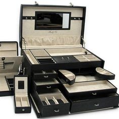 Luxury Black Leather Jewelry Box Trunk with 3 Take Away Travel Cases.
