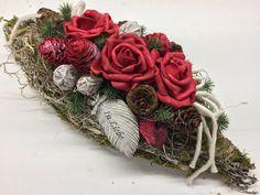 Grabgesteck Grabschmuck 35cm Packing Station, Cemetery Flowers, Flower Studio, Christmas Wreaths, Ornaments, Holiday Decor, Etsy, Color, Stuff Stuff